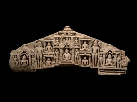 Door Lintel Depicting Jinas of the Digambara Sect Northern India, Rajasthan 11th Century Sandstone 24 x 62 in.