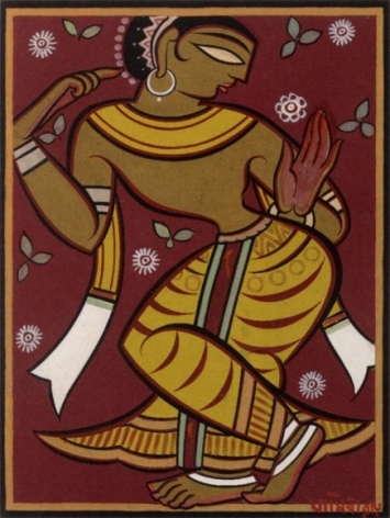 Jamini Roy UNTITLED (DANCING GOPI) c. 1960s Tempera on card 21.75 x 16.5 in.