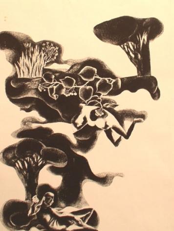 Laxma Goud NUDE FEMALE ON TOP MALE BELOW 1972 Ink on Board 29 x 21 in.  SOLD