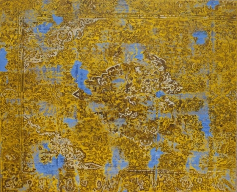 G.R. Iranna YELLOW CARPET 2015 Acrylic on tarpaulin 54 x 66 in.