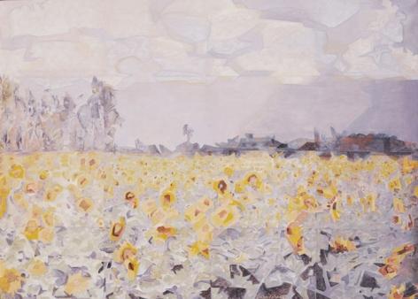 SUNFLOWER FIELD, VINCHURNI-1 2006 Oil paint on canvas 42 x 60 in.