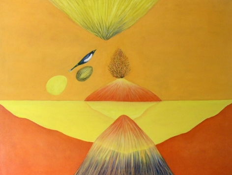 Jagdish Swaminathan UNTITLED (MOUNTAIN AND BIRD SERIES) Oil on canvas 29 x 40 in.  NFS