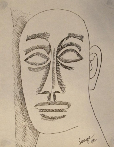 F N Souza UNTITLED (FACE) 1952 Pen and ink on paper  6 x 7.5 in.