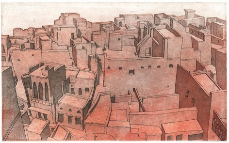 Damon Kowarsky AMINABAD I 2008 Etchings on paper 7 x 11.5 in.