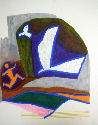 M.F. Husain BIRD SERIES 3 - COLRAIN 1980 Marker on board 13.5 x 10.5 in.