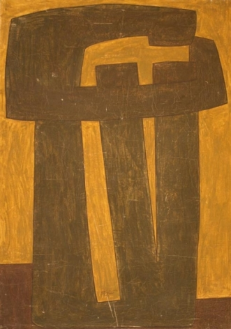 Sadequain UNTITLED (SHAPES) Oil on canvas 49 x 35.5 in.