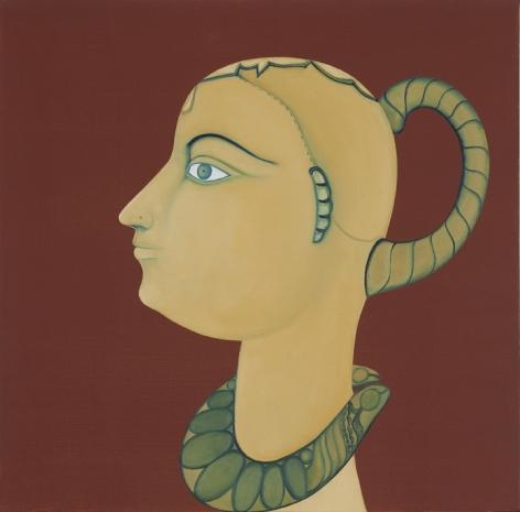 Rekha Rodwittiya Nayika (Red) 2009 Acrylic and oil on canvas 24 x 24 in.