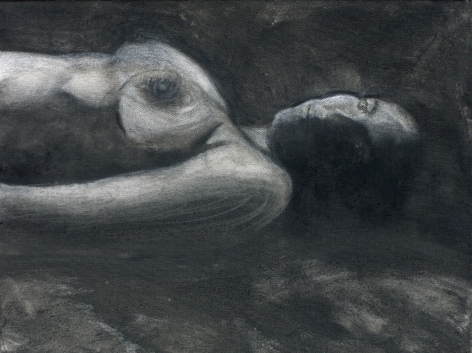 Sharmistha Ray NUDE 1 2013 Charcoal and ink on canvas 12 x 16 in.
