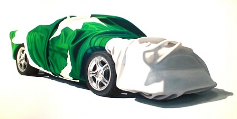 Sana Arjumand BUREAU CAR 2010 Oil and acrylic on canvas 59.5 x 117 in.