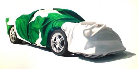 Sana Arjumand BUREAU CAR 2010 Oil and acrylic on canvas 59.5 x 117 in.