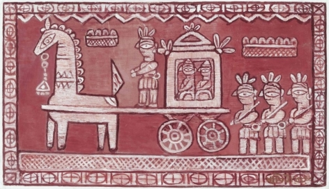 Jamini Roy  Untitled (Bridegroom's Procession)  Tempera on canvas 19 x 32 in