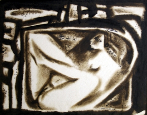 Laxma Goud Untitled (Woman Nude) 1966 Brown ink was on paper 14 x 17 in.