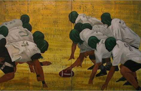 G.R. Iranna PLAYING WITH THE WHITE BALL (RUGBY) (DIPTYCH) 2007 Acrylic on tarpaulin 66 x 104 in.  SOLD