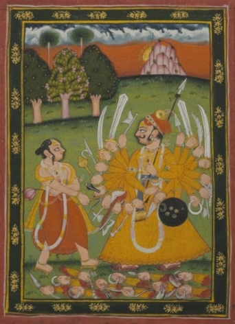 Parasurama Northern India, Rajasthan c. 1790 Opaque watercolour heightened with gold on wasli 8 x 5.37 in.