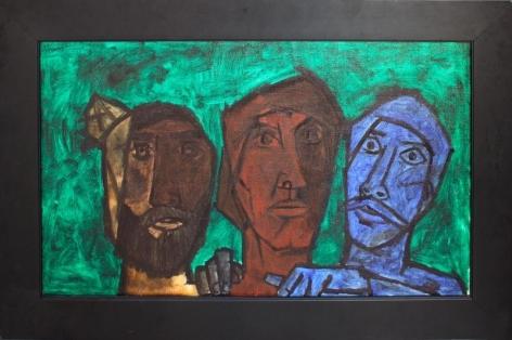 M.F. Husain UNTITLED (THREE HEADS-GREEN) 1957 Oil on canvas 20 x 33 in.
