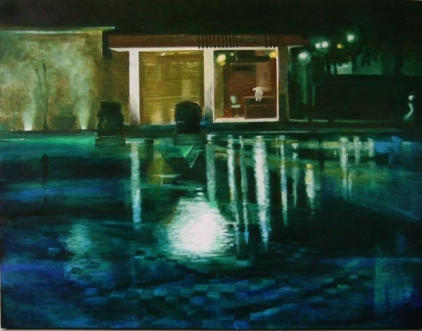Indrapramit Roy THE POOL 2009 Oil on canvas 42 x 54 in.