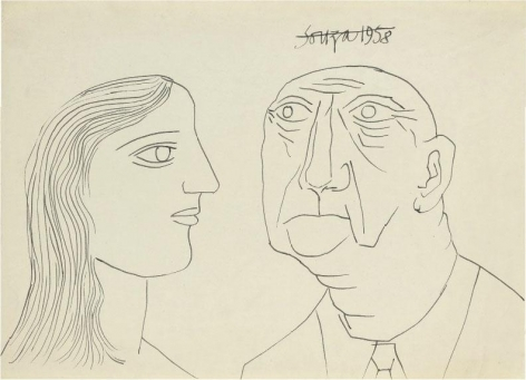 F. N. Souza UNTITLED (PORTRAIT) 2 1958 Ink on paper 10.5 x 15 in.