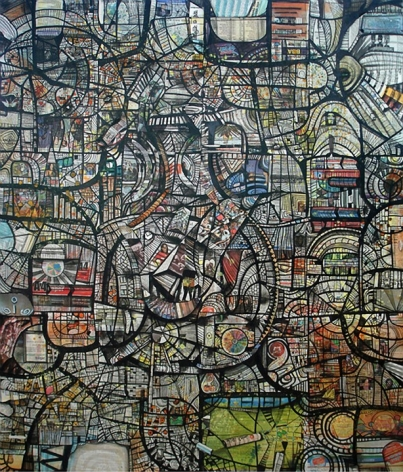 Kazi Salahuddin Ahmed SHEER CHAOS 26 2012 Acrylic and newspaper on canvas 65 x 55 in.