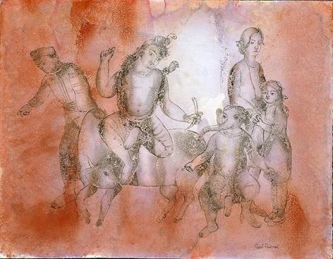Sakti Burman MAHADEV WANDERING ON THE SUMMER EVENING 2008 Watercolor on paper 20 x 25.5 in.