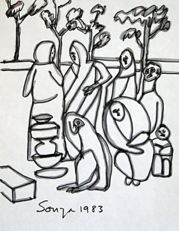 F. N. Souza UNTITLED (PEOPLE GATHERING) 1983 Ink on paper 11 x 8.5 in.