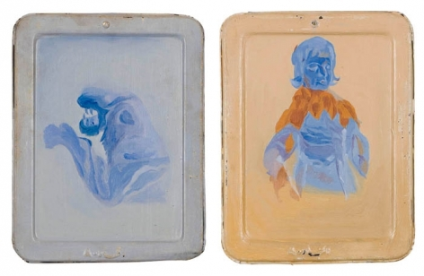 Ahmed Ali Manganhar NEGATIVE IMAGES (DIPTYCH) Acrylic on slate 11 x 16.5 in.