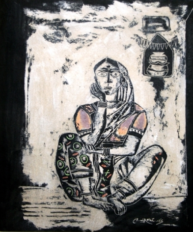 Laxma Goud UNTITLED - WOMEN (TOUCH OF COLOR) (HERWITZ COLLECTION) 1982 Linocut on card 11.25 x 9.5 in.