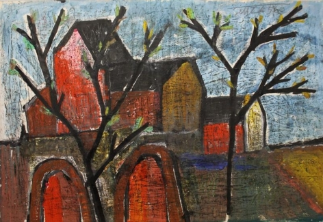 F. N. Souza LANDSCAPE 1956 Oil, wash and graphite on paper 14.5 x 22 in.