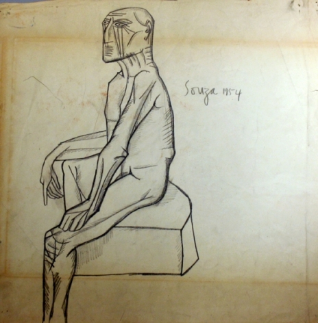 F.N. Souza Untitled (Seated Nude) 1954 Graphite on paper 15 x 14.5 in.