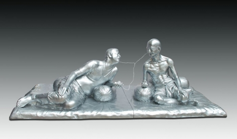 Debanjan Roy INDIA SHINING 7 (GANDHI SHARING IPOD) 2009 Fiberglass with acrylic paint Edition of 5 36 x 108 x 48 in.