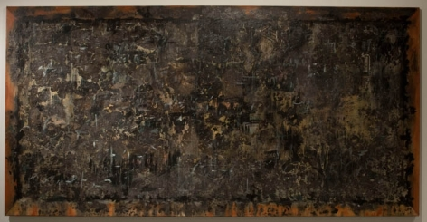 Ali Raza BLACK BOARD 2008 Burnt paper collage on canvas 47.5 x 95 in.
