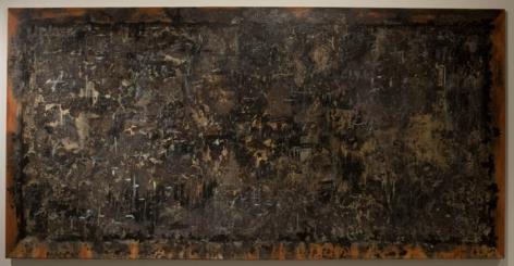 Ali Raza BLACK BOARD 2008 Burnt paper collage on canvas 47.5 x 95 in.