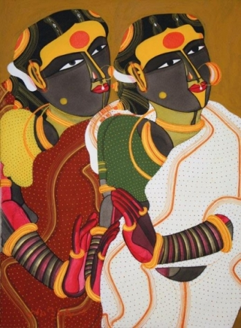 Thota Vaikuntam TWO WOMEN 2008 Acrylic on canvas 24 x 18 in.