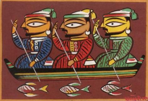 Jamini Roy UNTITLED (THREE BOATMEN) ND Gouache on card 14 x 20 in.