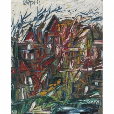 F. N. Souza TOWNSCAPE 1963 Oil on canvas 27 x 22 in.  SOLD