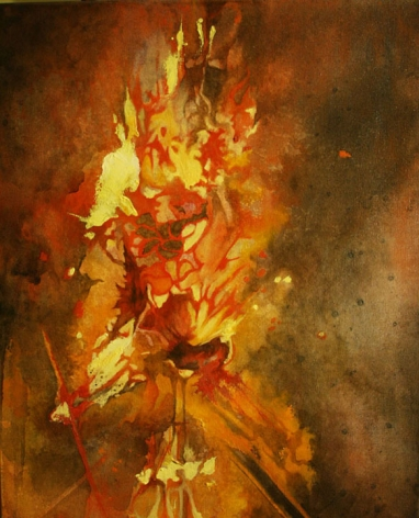 Nitin Mukul CELEBRATION 3 2012 Oil, acrylic and tea stain on canvas 24 x 18 in.