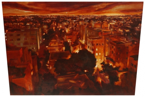 Indrapramit Roy  Metropolis II  Oil on shaped canvas  48 x 72 in.