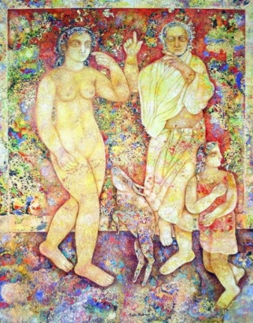 Sakti Burman ARTIST DANCING IN FRONT OF HIS LOVER 2007 Oil on canvas 45.5 x 34.5 in.