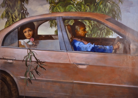 Salman Toor GIRL WITH DRIVER 2013 Oil on canvas 53 x 58 in.