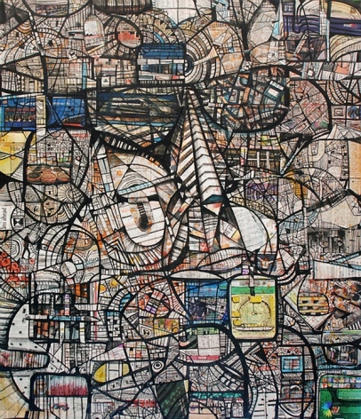 Kazi Salahuddin Ahmed SHEER CHAOS 25 2012 Acrylic and newspaper on canvas 65 x 55 in.