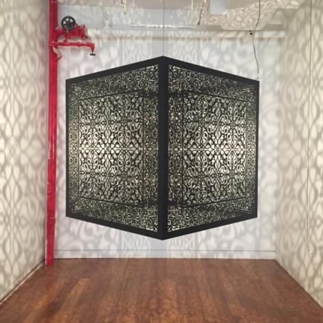 Anila Quayyum Agha Shimmering Mirage (Ed. Of 6) 2016 Laser-cut black steel and bulb 36 x 36 x 36 in.
