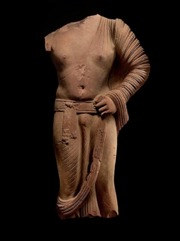 Standing Buddha Mathura, Kushan Dynasty c. 2nd Century Sikri sandstone Height: 53 in.