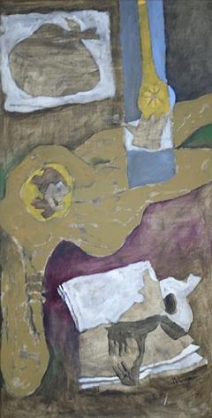 M. F. Husain Autpbiography V 1996 Acrylic on canvas 47 x 23 in.