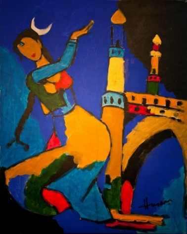 M.F. Husain UNTITLED (MENAXI) ND Oil on canvas 29.5 x 22 in.