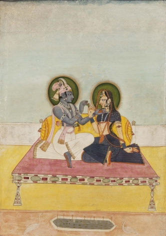 Indian Miniature KRISHNA AND RADHA EXCHANGING BETEL c. 1800 Opaque pigment on paper 12.5 x 8.5 in