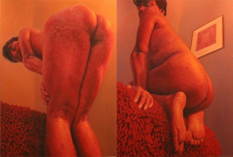 Abir Karmakar IN THE OLD FASHIONED WAY 1(DIPTYCH) 2006 Oil on canvas 48 x 72 in.