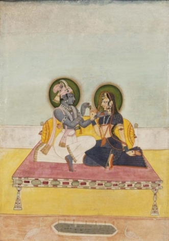 Miniatures KRISHNA AND RADHA EXCHANGING BETEL c. 1800 Opaque pigment on paper 12.5 x 9 in.
