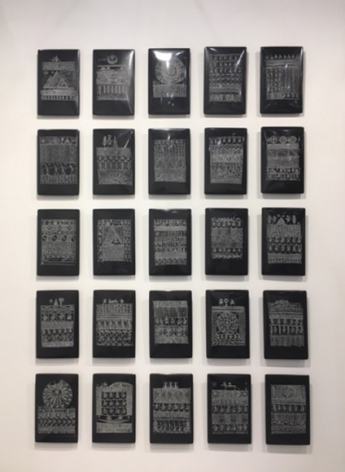 Rachid Koraichi Untitled (Talismanic Tablets) 2015 Set of 25 black marble tablets 14 x 8.5 x 1 in.