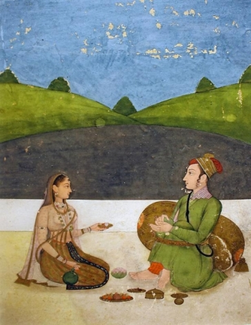 Couple on a Terrace India, Possibly Lucknow Opaque watercolor heightened with gold on paper 19th Century 7 x 5 in.
