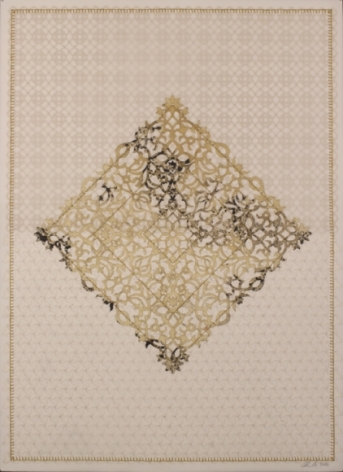 Anila Quayyum Agha  Antique Lace - 4  2016  Mixed media on paper (Laser-cut patterns on paper with mylar, encaustic and embroidery)  30 x 22 in.
