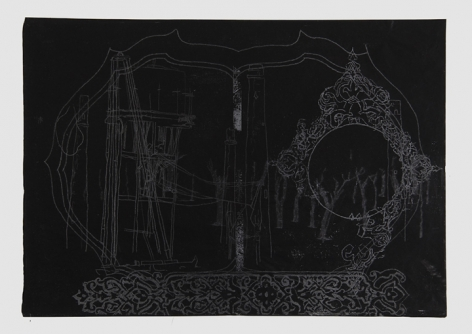 Saad Qureshi UNTITLED (PERSISTENCE OF MEMORY 2) 2013 Carving on carbon paper 15 x 18.5 in.